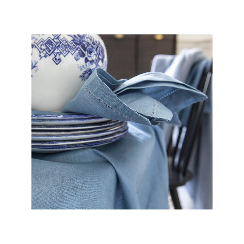 linge de table bleu